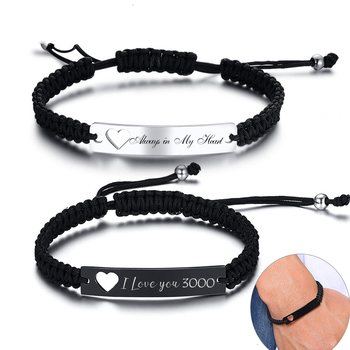 Custom Engrave Couple Bracelets for Women Man Hollow Heart Stainless Steel ID Bar Handmade Braided Rope Valentine's Day Gifts