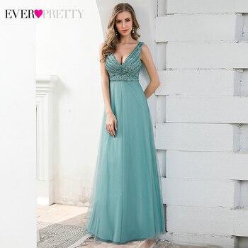 Sexy Blue Evening Dresses Ever Pretty EP00785DB Deep V-Neck Sequined Sleeveless Sparkle Evening Party Gowns Vestido De Festa