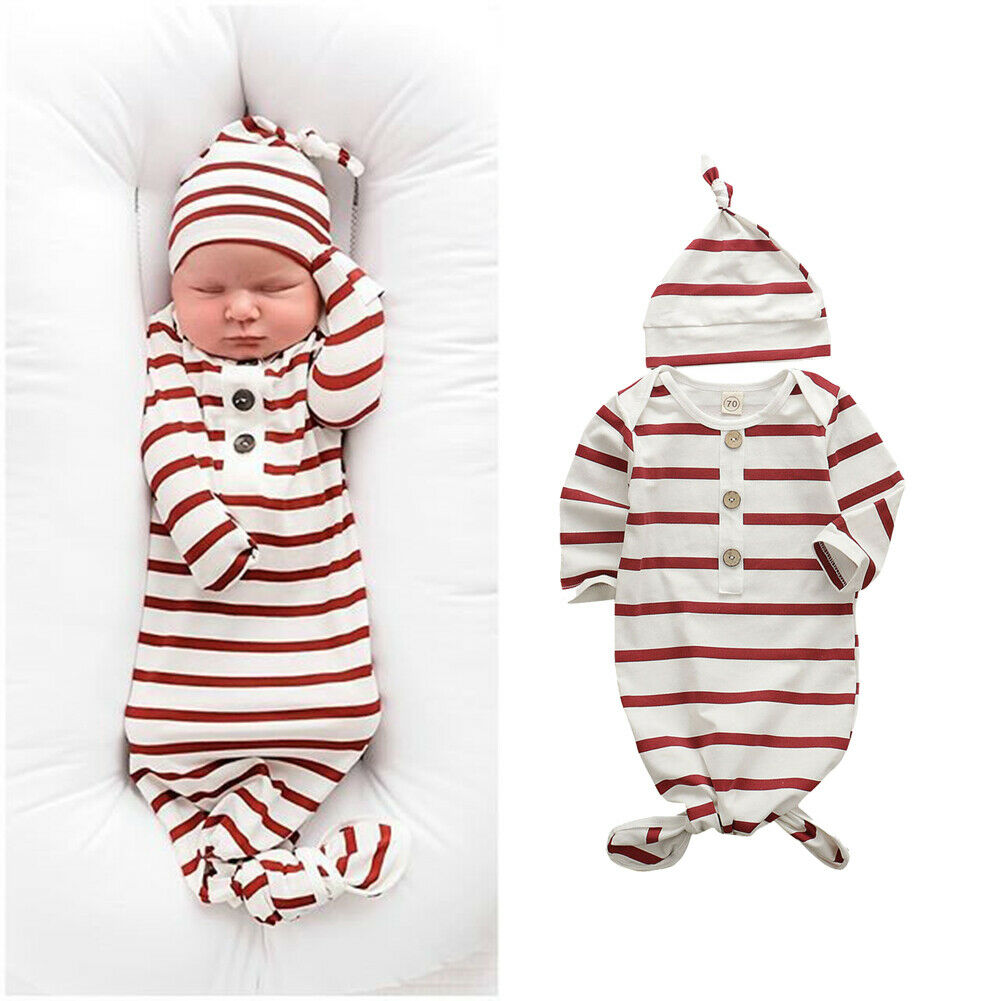 0-6M Newborn Baby Boy Girl Sleeping Bag Long Sleeve Cotton Comfortable Wrapped Sleeping Red White Striped Blanket + Hat