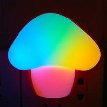 Mushroom Colorful LED Light Plug-in Night Light Home Bedroom Hallway Switch Wall Lamp  EU or US plug
