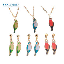 Sansummer 2019 New Fashion Cute Animal Series Bird Enamel Girl Color Geometric Element Charm Necklace Earrings For Women Jewelry