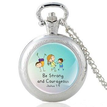 High Quality Bible Verse Quartz Glass Dome Charm Pocket Watch Men Women Vintage Necklace Pendants  Jewelry Gifts недорого
