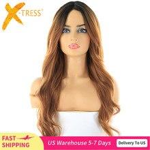 Ombre brown cor perucas de cabelo sintético com franja para preto feminino resistente ao calor fibra X TRESS longo ondulado parte do laço peruca lado parte