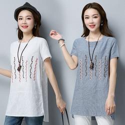 2019 verano nuevo estilo de algodón de lino de manga corta Camiseta de la literatura y el arte de las mujeres de ajuste suelto bordado cuello redondo de corte lateral medio