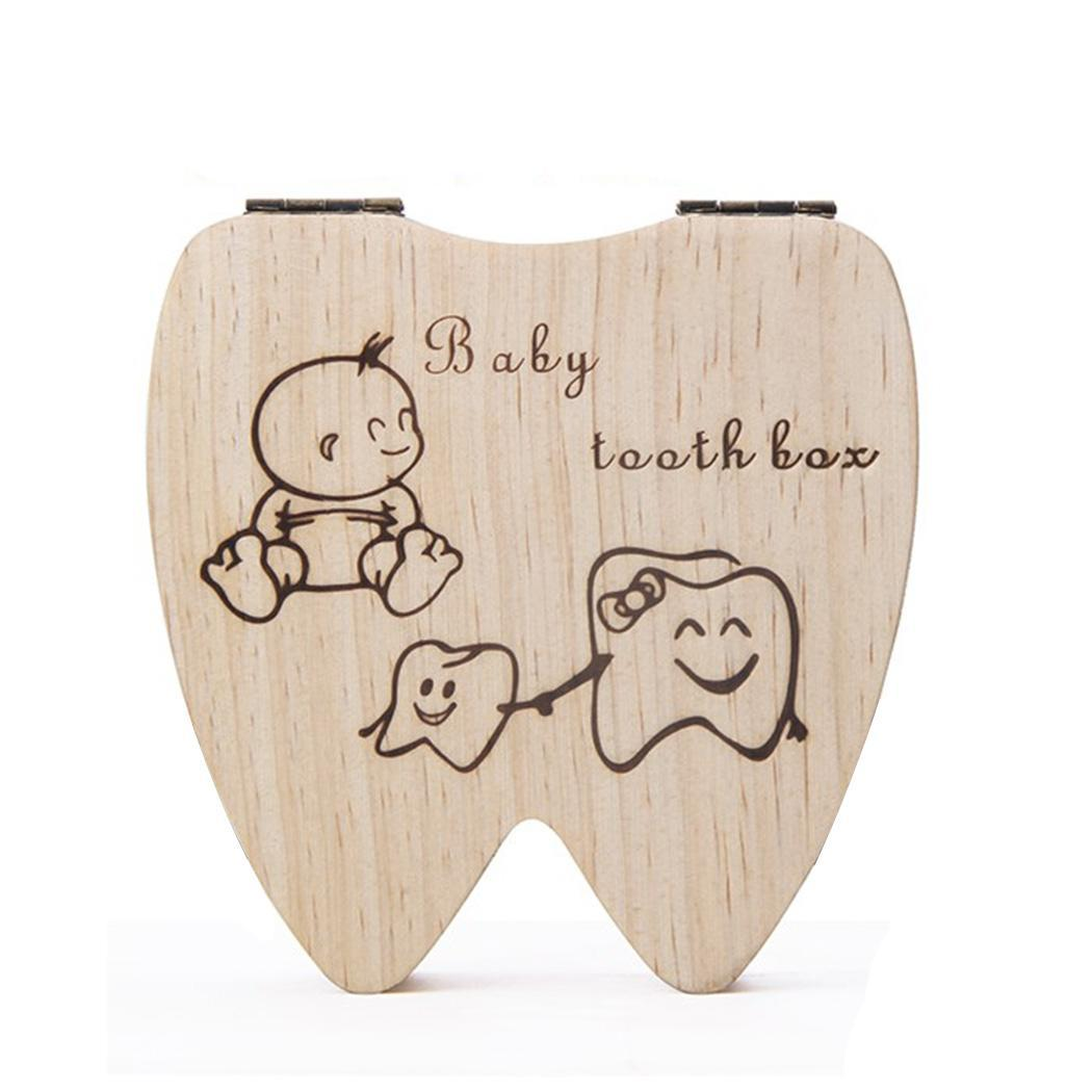 Wood Baby Umbilical Cord Commemorate Collection Girls, Boys Cartoon Deciduous 0.160 Kg Tooth Box