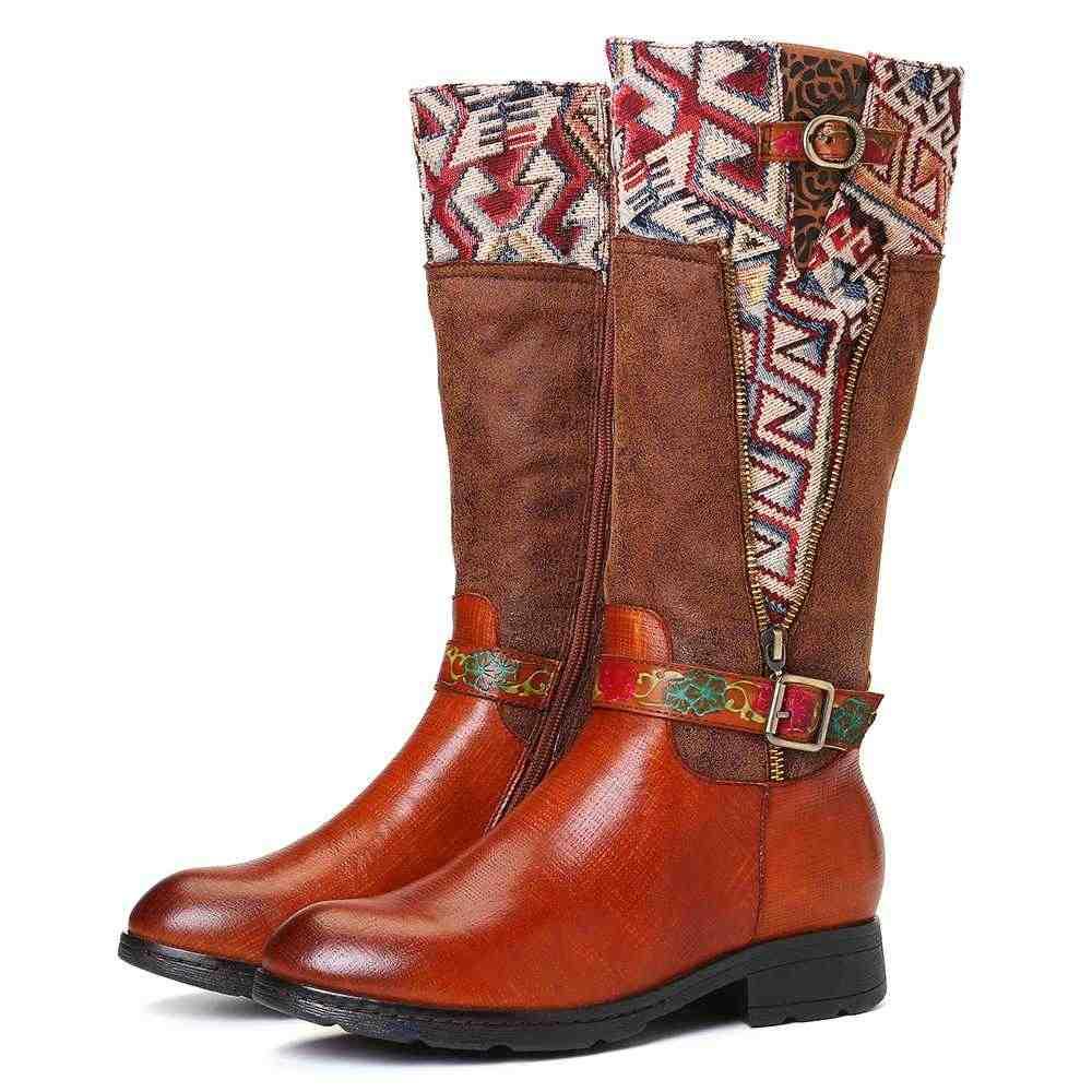 أحذية بوتاس موخير من SOCOFY أحذية بوت مربعة الشكل مصنوعة من الجلد الطبيعي نعل ناعم مسطح متوسط الطول أحذية بكعب للسيدات أحذية شتوية