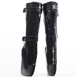 Image 4 - Jialuowei النساء مثير الأحذية 18 سنتيمتر عالية إسفين كعب Heelless وحيد قابلة للقفل سستة الأقفال الركبة عالية الباليه الأحذية للجنسين أحذية