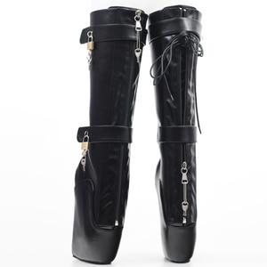 Image 4 - Jialuowei Frauen Sexy Stiefel 18 cm Hohe Keil Ferse Heelless Sohle Abschließbare vorhängeschlösser Knie Hohe Ballett Stiefel Unisex schuhe