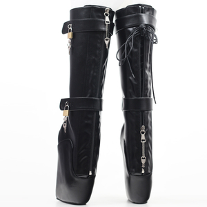 Image 4 - jialuowei Women Sexy Boots 18cm High Wedge Heel Heelless Sole Lockable Zipper padlocks Knee High Ballet Boots Unisex Shoes