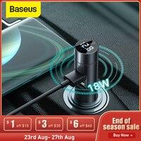Baseus 18W Fast Car Charger Adapter FM Transmitter Bluetooth Car Modulator Handsfree Car Audio Receiver 18W 2 USB