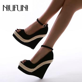 цены Sexy Hemp Rope Gladiator Shoes Peep Toe Wedge Women Sandals Platform High Heels Buckle Plus Size 35-42 Roman Shoes For Women