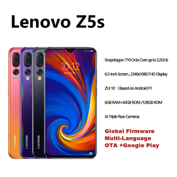 Global version Lenovo Z5s Snapdragon 710 Octa Core 64GB SmartPhone Face ID 6.3 AI Threefold back camera Android P cell 6