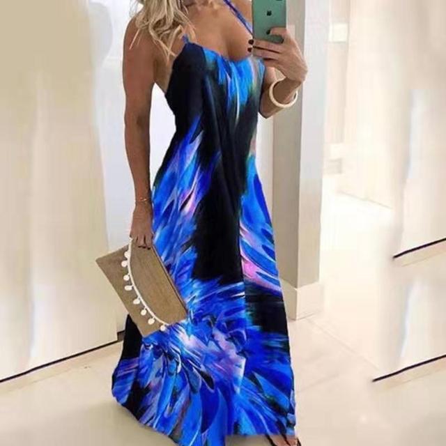 Fantastic print summer dress, full length 2