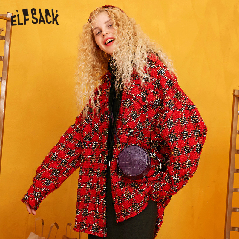 ELFSACK Red Plaid Straight Single Breasted Wool Coats Women 2019 Winter Long Sleeve Warmness Loose Office Ladies Sweety Outwear - 3