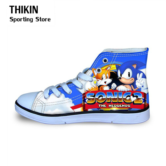 THIKIN 2019 Children Running Shoes For Kids Boys Sonic The Hedgehog Sports  Sneakers High Top Canvas Shoes Toddler Girls Child