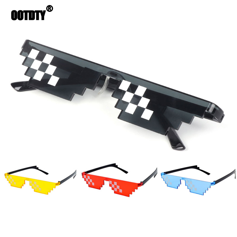 Mosaic Sunglasses Trick Toy Thug Life Glasses Deal With It Glasses Pixel Women Men Black Mosaic Sunglasses Funny toy(China)