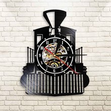 Locomotora de vapor clásica creativa, reloj de pared colgante negro, modelo de tren, diseño iluminado, reloj de pared, pista de ferrocarril decorativo