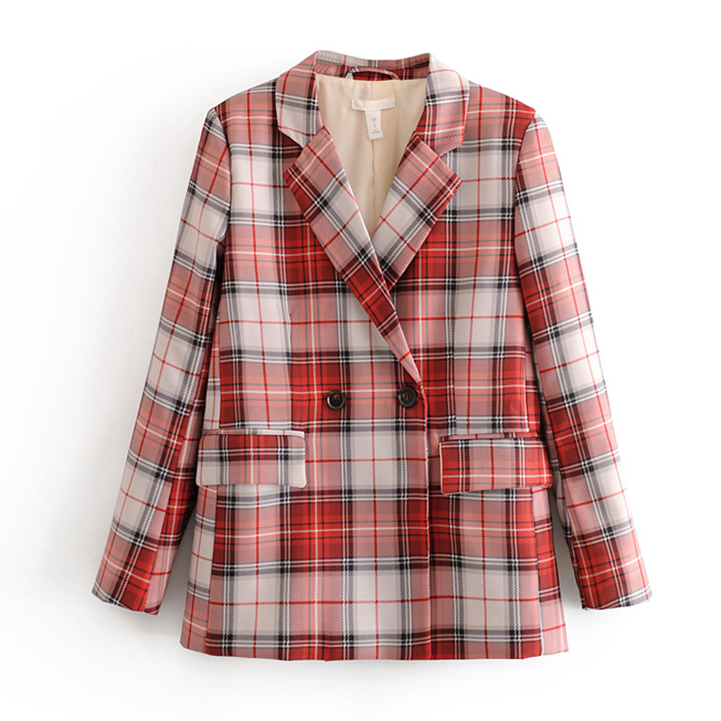 Stylish Chic Plaid Notched Blazers Women Fashion Double Breasted Check Blazers Elegant Ladies Plaid Printed Long Sleeve Suits