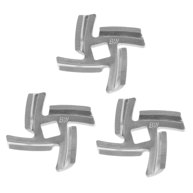 3pcs/set Mincer Knife Stainless Steel 4 Blade Square Hole Meat Grinder Parts