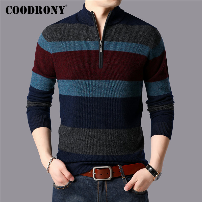 COODRONY Brand Sweater Men Thick Warm Winter Zipper Turtleneck Sweaters 100% Merino Wool Pullover Men Cashmere Pull Homme 93033