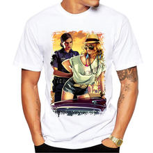 Grand Theft Auto Spiel GTA 5 Männer Sommer T Shirts Kühlen GTA5 Männer T-shirt Bunte Print T-shirt in Paare T hemd(China)