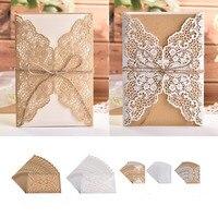 100pcs Elegant Wedding Invitation Cards Birthday Greeting Card Kraft Paper Hemp Rope Bow Set Decor Festival Party Supplies