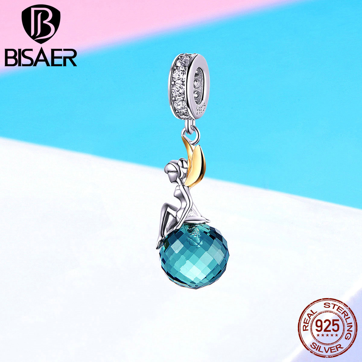 BISAER Authentic 925 Sterling Silver Blue Crystal Mysteriou Elf Planet Beads Charms fit Bracelet Silver Jewelry Making EFC056|Beads| |  - title=