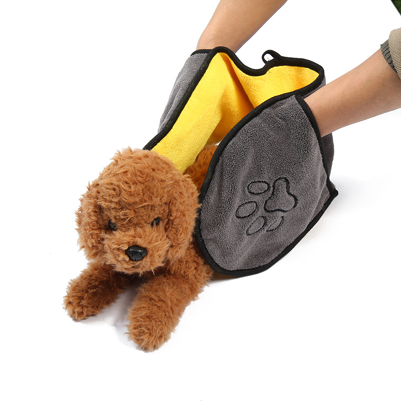 Super Pet Dog Drying Towel With Striped Leg Pocket Cat Bath  Ultra Absorbent Soft Microfiber Convenient 65 * 23cm