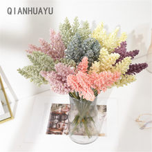 6 pçs/pacote pe vanilla spike barato mini lavanda flor artificial por atacado para casa decoração de parede planta cereais heap