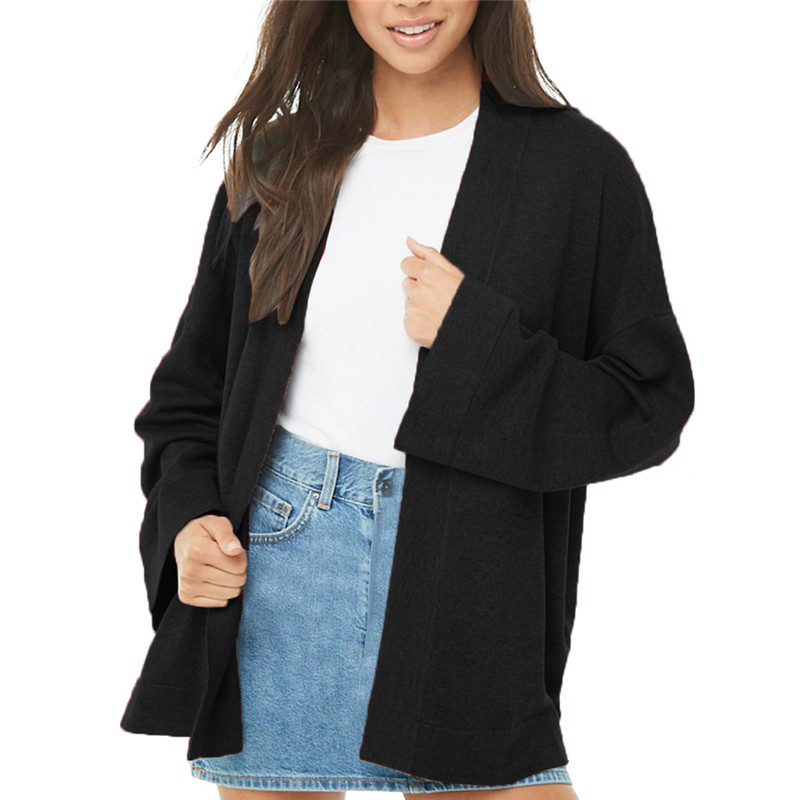 Casual Loose Solid Color Outerwear Coats And Jackets Women Cardigans Retro Open Stitch Long Sleeve Oversized Jacket Ladies