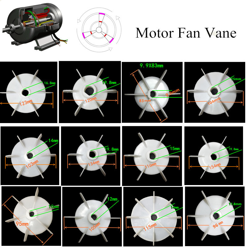 JW50 JW56 JW63 JW71 AO90-4P dc Single-phase motor Cooling Accessories Plastic Fan Vane Air compressor pump Replacement Parts