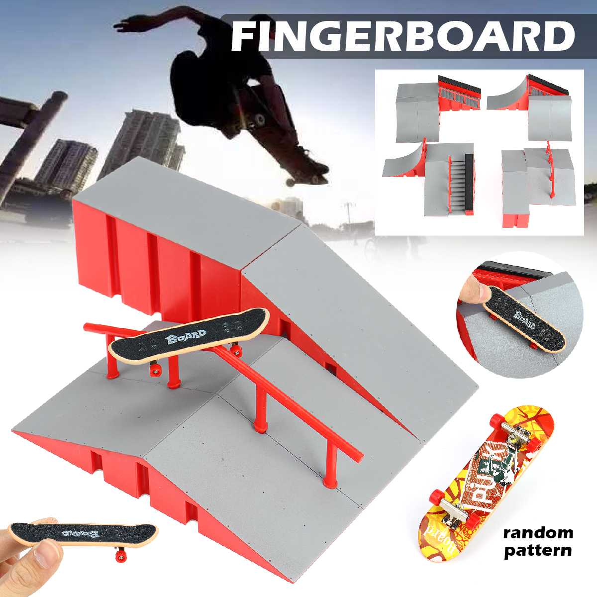 Skate Park Kit Ramp Parts For Tech Deck Fingerboard Excellent Gift For Extreme Sports Enthusiasts Sport Training