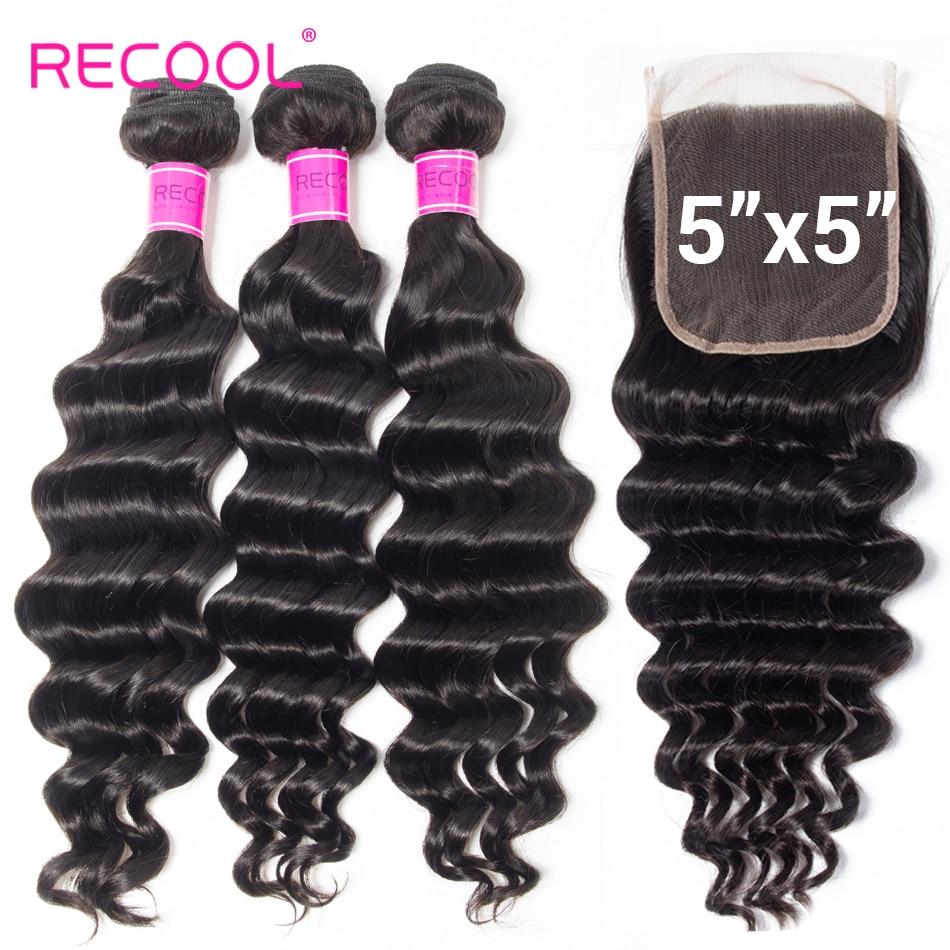 Recool Haar 3 Bundles Mit 5x5 Spitze Schließung Lose Tiefe Welle Menschliches Haar Bundles Mit Verschluss Brasilianische Haar weben Bundles
