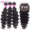 Recool Hair 3 zestawy z 5x5 zamknięcie koronki luźne głęboka fala wiązki ludzkich włosów z zamknięciem brazylijski włosy wyplata wiązki