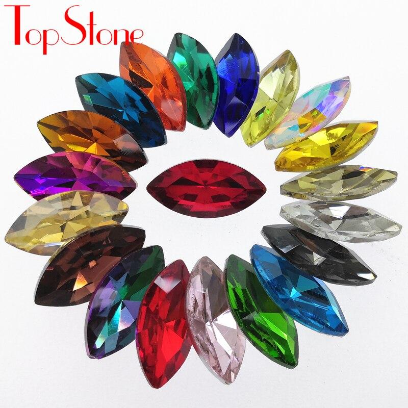 TopStone Navette Fancy Stone Colors Pointback Konjsko oko Stekleni - Umetnost, obrt in šivanje