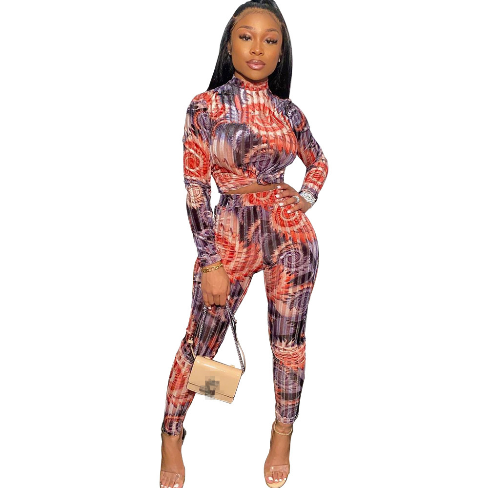 Echoine Printed Bodycon 2 Piece Set Women Autumn WInter Long Sleeve Skinny Sexy Club Women Two Piece Outfits Matching Set