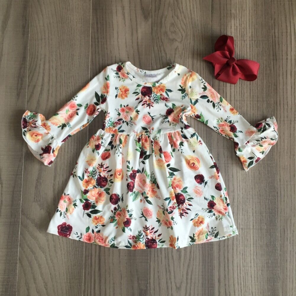 Baby Girls Clothes Children Fall Dress Floral Dress With Bow