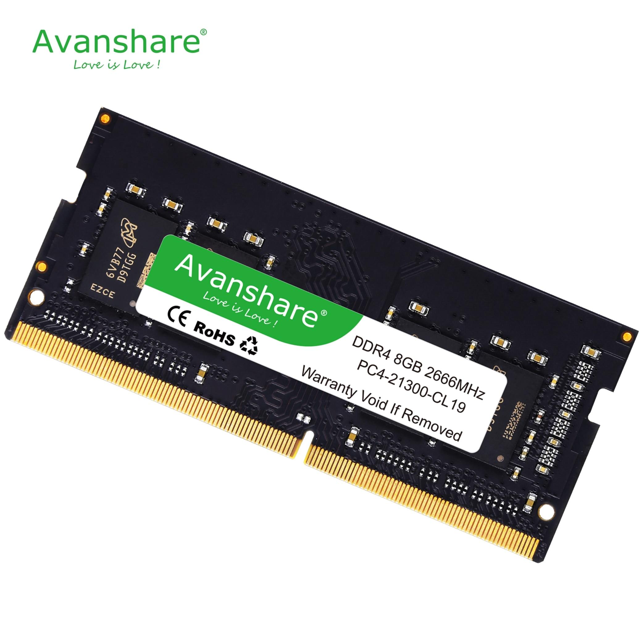 Avanshare ddr4 ram 8GB 4GB 16GB 2400MHz 2666 DIMM Support de mémoire d'ordinateur portable carte mère ddr4