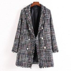 Image 3 - Fresh style Spring/Autumn female casual jacket coat hand tassel loose coat checkered Tweed coat jacket lapel thick jacket