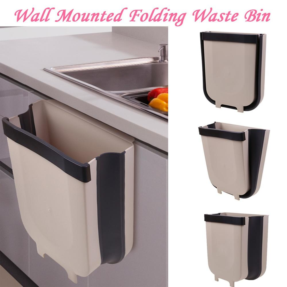 US $9.38 35% OFF|kitchen Hanging Trash Can Wall Mounted Folding Waste Bin  Kitchen Cabinet Door Hanging Trash Bin khaki portable trash bin @40 on ...