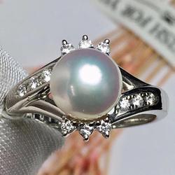 Настоящее Pt900 100% натуральные бриллианты и японское происхождение Akoya жемчуг 8,1 мм женские тонкие кольца для женщин ювелирные изделия