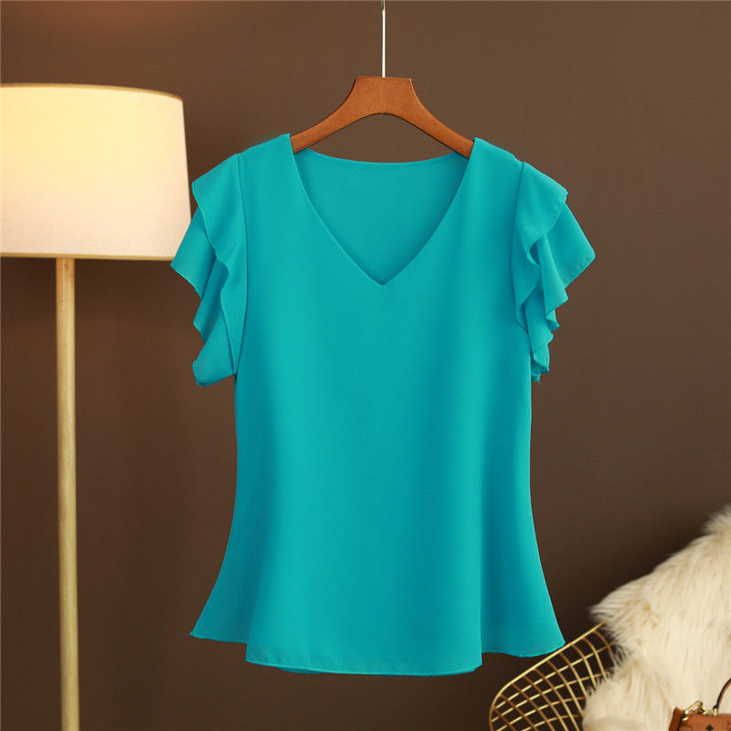 2021 New Fashion Women's blouse Tops Summer Short sleeve Chiffon shirt Solid V-neck Casual blouse Plus Size 5XL Loose Female Top 1