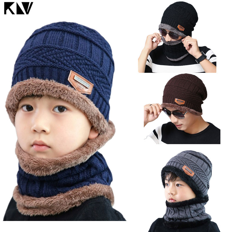 Adult Kids 2 Pieces Winter Beanie Hat Infinity Scarf Set Stretch Chunky Cable Knitted Thick Faux Fleece Lined Skull Cap Loop