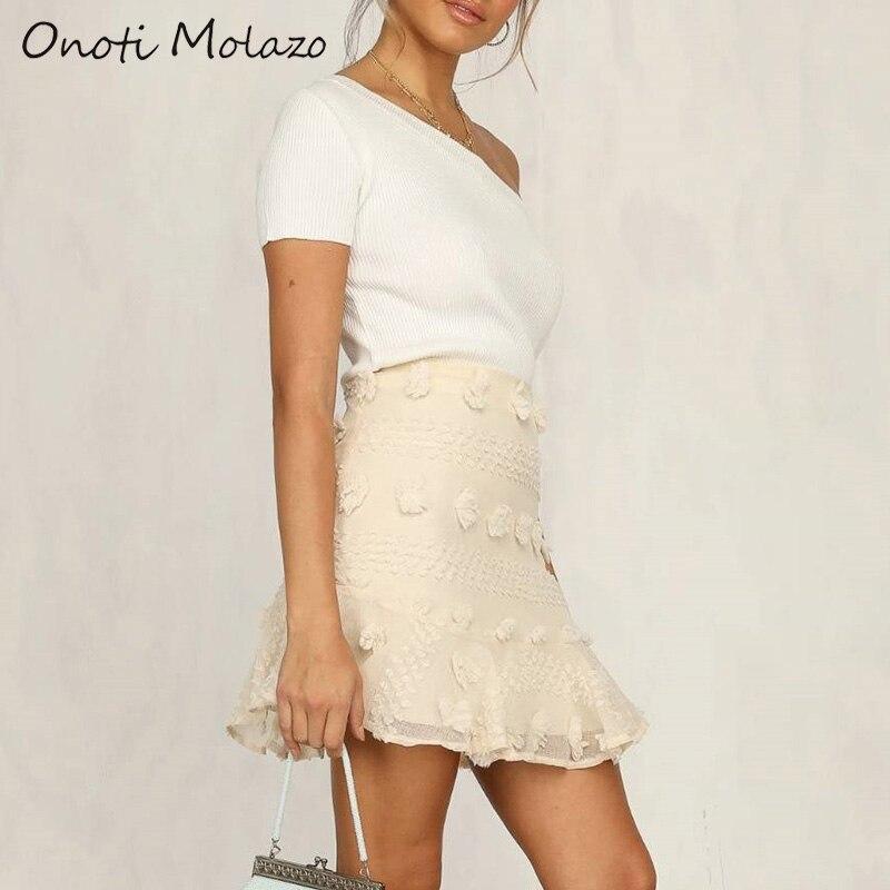 Onoti Molazo Skirts Women Embroidery Casual Zipper Summer Chic Girls Elegant Ladies Mini Skirt Bottoms Female 2020 Spring New