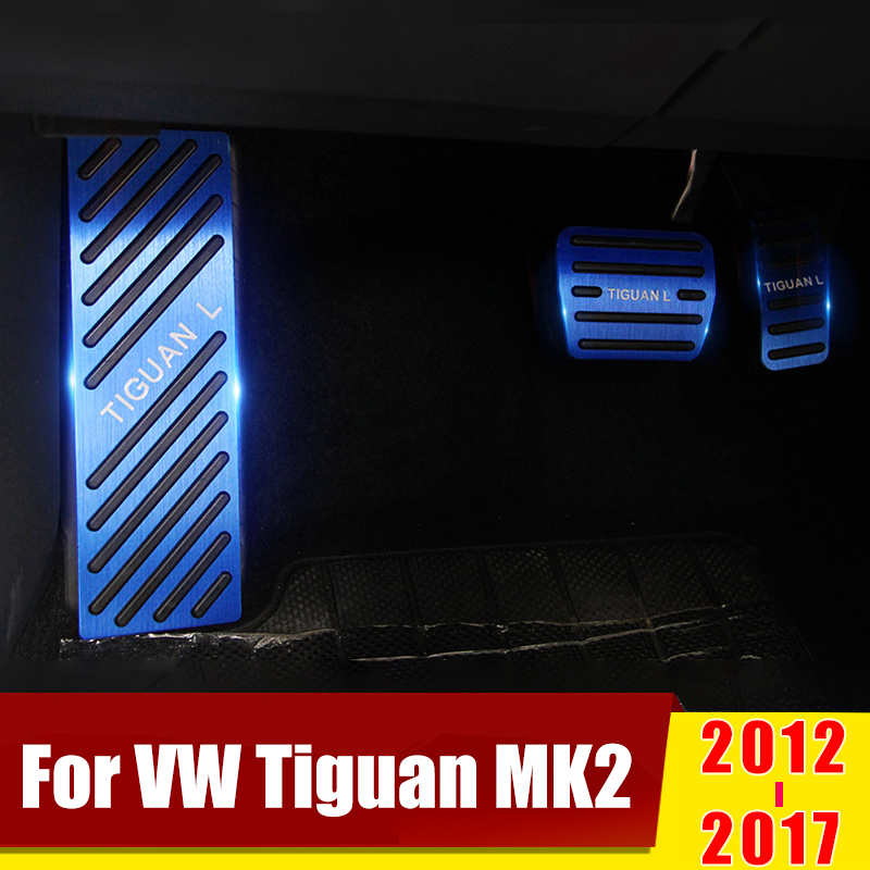For Volkswagen VW Tiguan MK2 2016 2017 2018 2019 Aluminum Car Accelerator Pedal Brake Footrest Pedals Pad Cover Case Accessories image