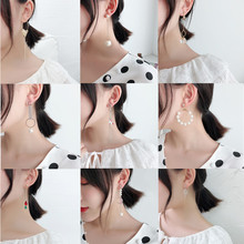 все цены на 2019 Korean Geometric fashion simple temperament pearl diamond women heart earring chain long earrings joker tassel earrings онлайн