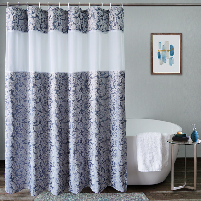 Usexta feira cortina de banho elegante, branco, gaze, poliéster, à prova dágua, grossa, jacquard, cinza, prata