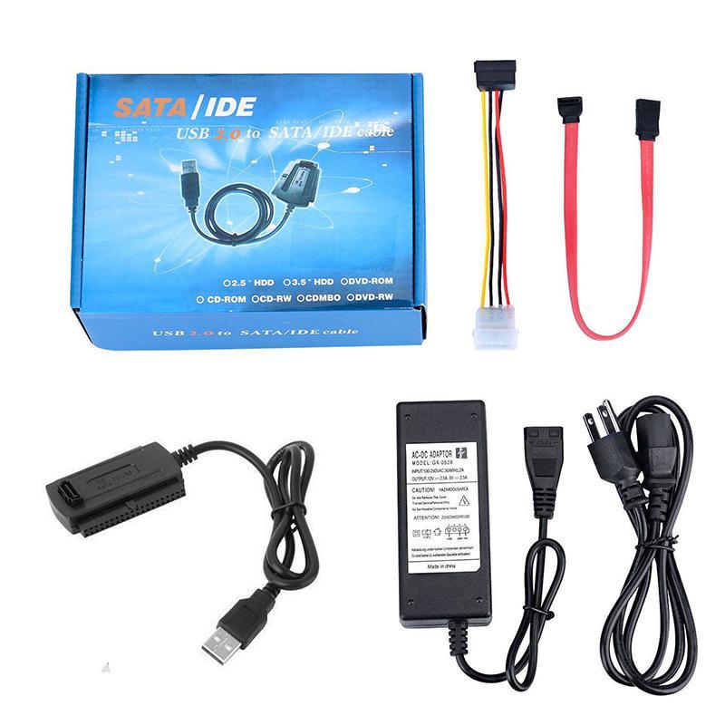 Переходник SATA/PATA/IDE на USB 2,0, кабель-конвертер для жесткого диска HDD 2,5 дюйма 3,5 дюйма с внешним адаптером питания переменного тока