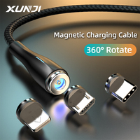 XUNJI magnetico Micro USB tipo C cavo di ricarica caricabatterie rapido 1.2M 2M per caricabatterie per cellulare