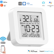 SEC Tuya WIFI Temperature And Humidity Sensor Indoor Hygrometer Thermometer With LCD Display Support Alexa Google Assistant